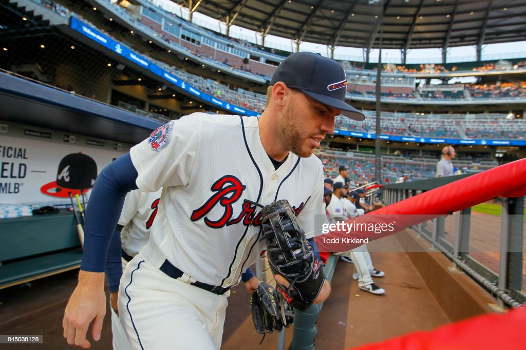 Freddie Freeman #5 of the Atlanta Braves takes the field before the game against the Miami Marlins at SunTrust Park on September 9, 2017 in Atlanta, Georgia.
