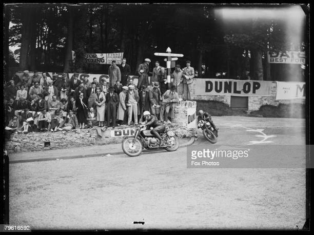 Freddie Frith and Jock West during the Senior TT Race on the Isle of Man 1937 Frith came in first and West sixth