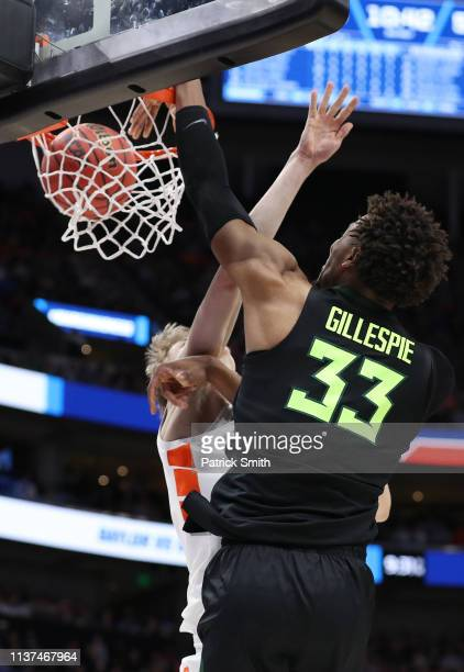 Freddie Gillespie of the Baylor Bears dunks against the Syracuse Orange during the second half in the first round of the 2019 NCAA Men's Basketball...