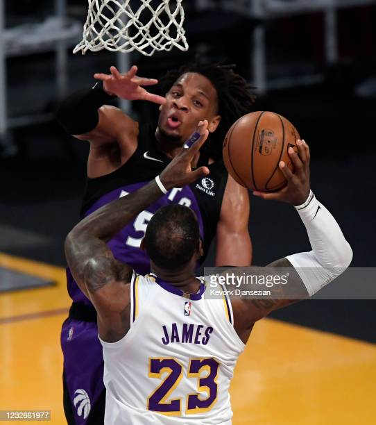 Freddie Gillespie of the Toronto Raptors defends against LeBron James of the Los Angeles Lakers during the second half at Staples Center on May 2,...