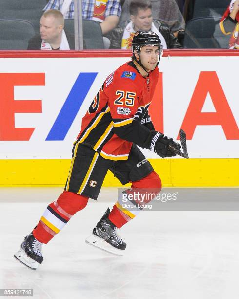 Freddie Hamilton of the Calgary Flames in action against the Winnipeg Jets during an NHL game at Scotiabank Saddledome on October 7 2017 in Calgary...