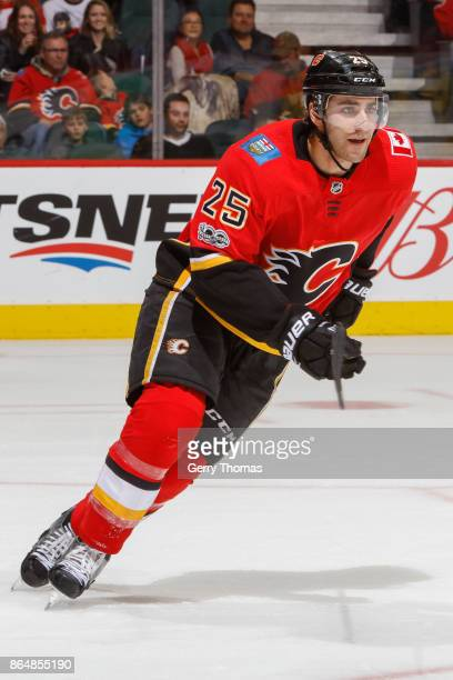 Freddie Hamilton of the Calgary Flames in an NHL game against the Minnesota Wild at the Scotiabank Saddledome on October 21 2017 in Calgary Alberta...