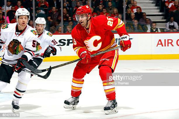 Freddie Hamilton of the Calgary Flames skates against the Chicago Blackhawks during an NHL game on November 18 2016 at the Scotiabank Saddledome in...