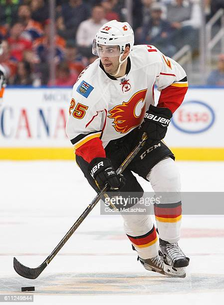 Freddie Hamilton of the Calgary Flames skates against the Edmonton Oilers on September 26 2016 at Rogers Place in Edmonton Alberta Canada