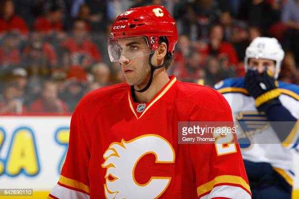 Freddie Hamilton of the Calgary Flames skates against the St Louis Blues during an NHL game on October 22 2016 at the Scotiabank Saddledome in...