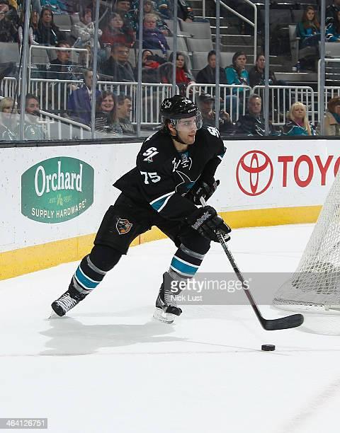 Freddie Hamilton of the San Jose Sharks handles the puck against the Edmonton Oilers during an NHL game on January 2 2014 at SAP Center in San Jose...
