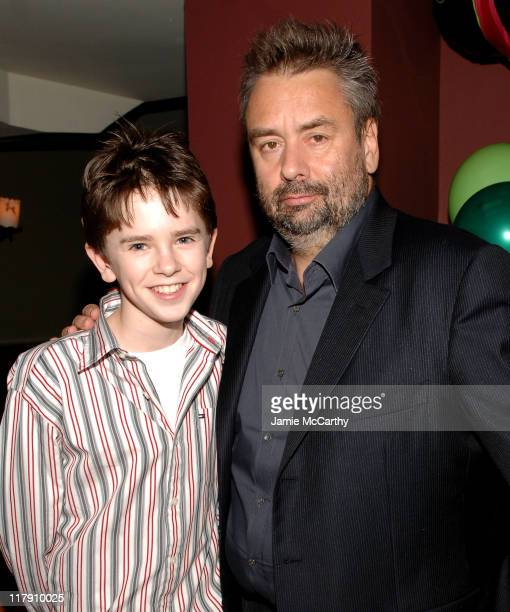 Freddie Highmore and Luc Besson director during Reception Following Arthur and the Invisibles New York City Premiere at Providence in New York City...