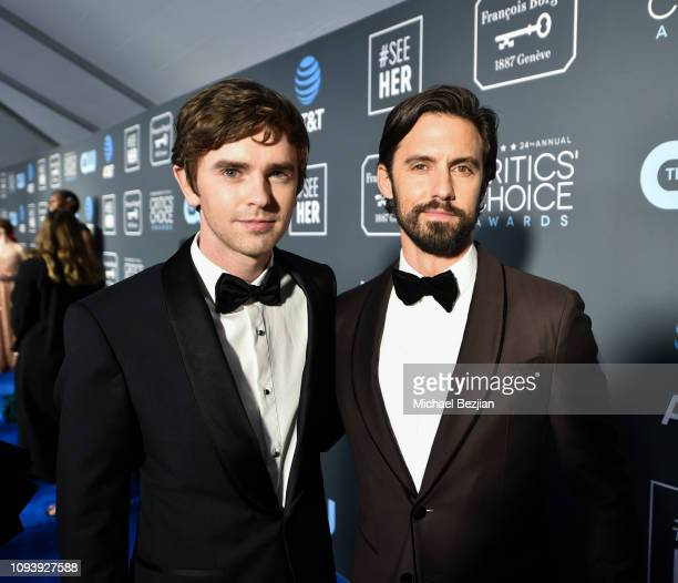 Freddie Highmore and Milo Ventimiglia arrive to Critics Choice Red Carpet Special Celebrity Guests With Host Sam Rubin on January 13 2019 in Santa...