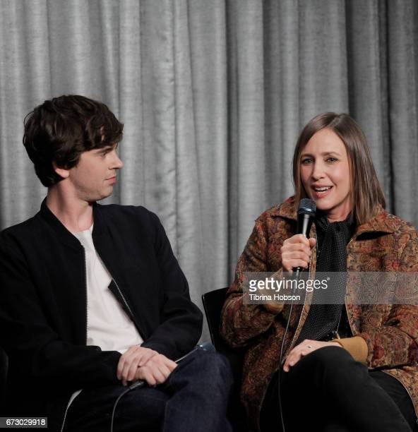 Freddie Highmore and Vera Farmiga attend the SAGAFTRA Foundation Conversations and QA for 'Bates Motel' at SAGAFTRA Foundation Screening Room on...