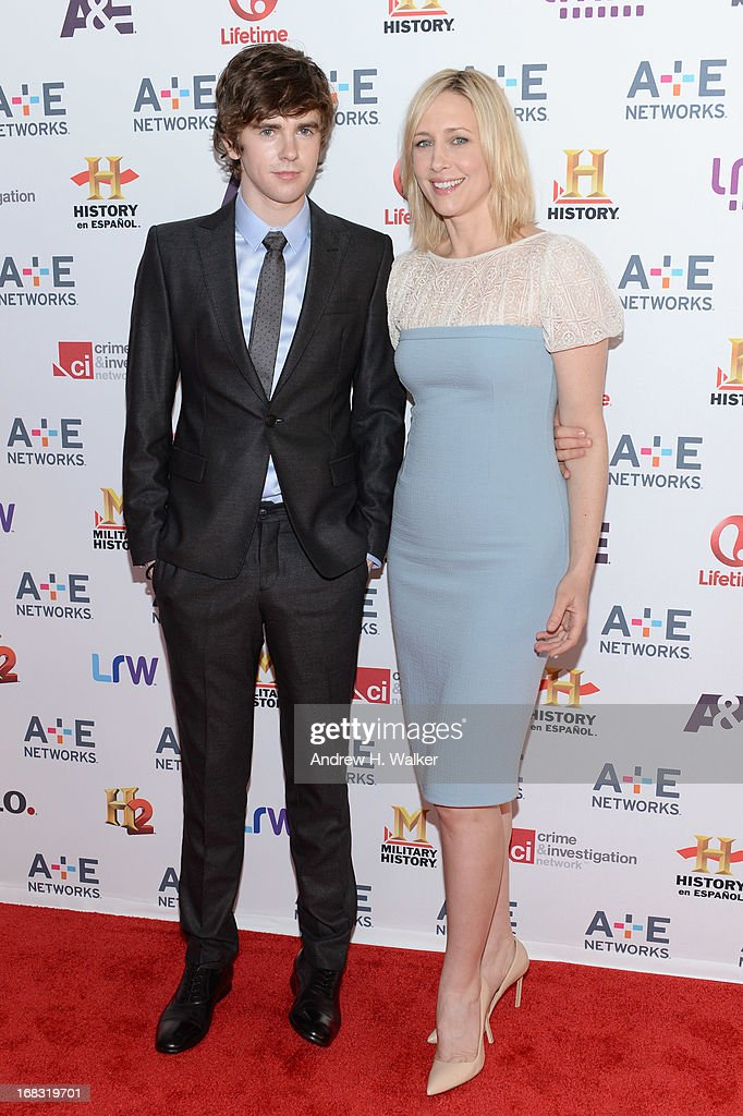 Freddie Highmore and Vera Farmiga of 'Bates Motel' attend the A+E Networks 2013 Upfront on May 8, 2013 in New York City.