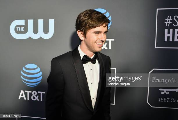 Freddie Highmore arrives to Critics Choice Red Carpet Special Celebrity Guests With Host Sam Rubin on January 13 2019 in Santa Monica California