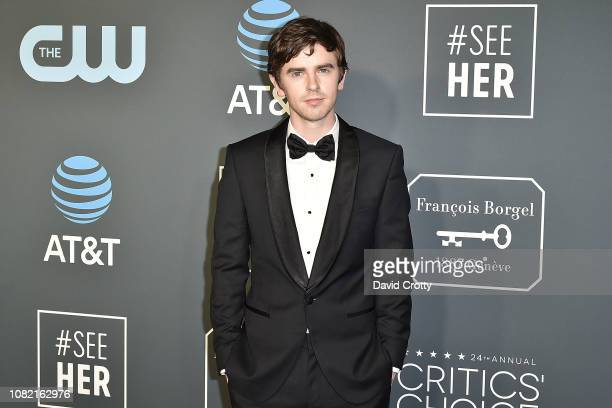Freddie Highmore attends the 24th Annual Critics' Choice Awards Arrivals at Barker Hangar on January 13 2019 in Santa Monica California