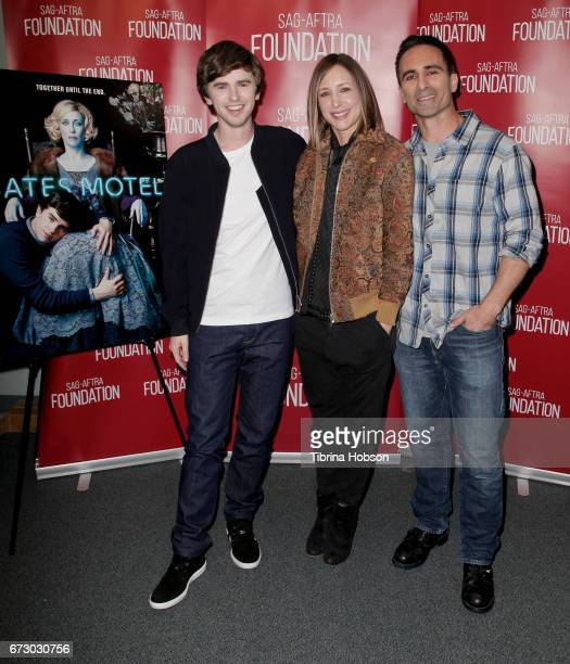 Freddie Highmore Vera Farmiga and Nestor Carbonell attend the SAGAFTRA Foundation Conversations and QA for 'Bates Motel' at SAGAFTRA Foundation...