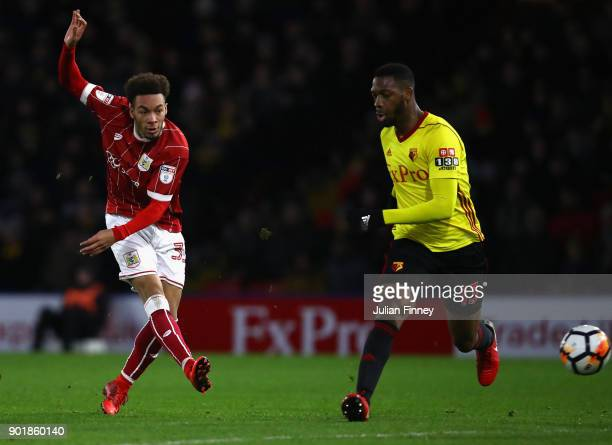 Freddie Hinds of Bristol City shoots at goal during The Emirates FA Cup Third Round match between Watford and Bristol City at Vicarage Road on...