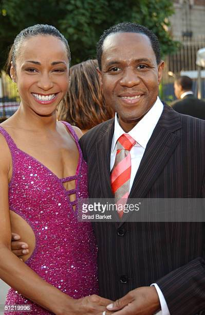 Freddie Jackson and Crystal Blake arrives at the National Black Sports and Entertainment Hall of Fame at Aaron Davis Hall on August 25 2004 in New...