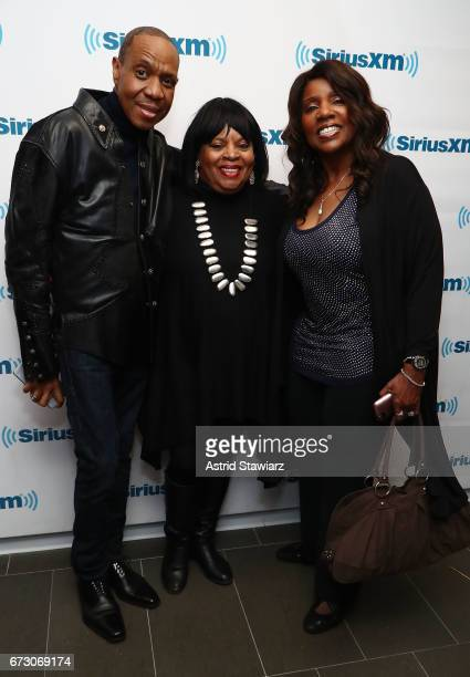 Freddie Jackson Sarah Dash and Gloria Gaynor pose for photos during a SiriusXM Town Hall taping on Studio 54 Radio celebrating the 40th anniversary...