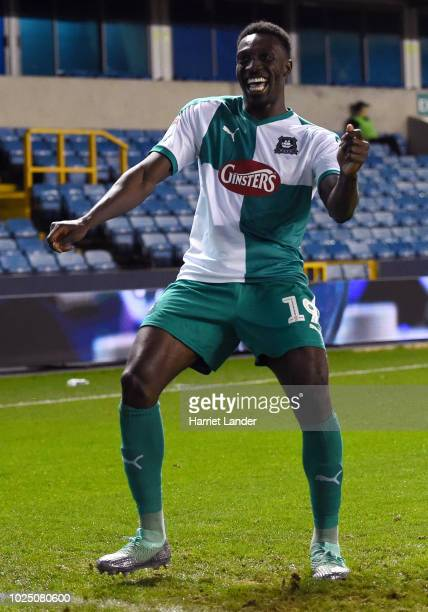 Freddie Ladapo of Plymouth Argyle celebrates after scoring his team's second goal during the Carabao Cup Second Round match between Millwall and...