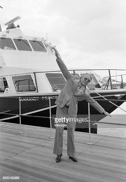 Freddie Laker with the 'Normandy Princess' in the background 26th April 1979