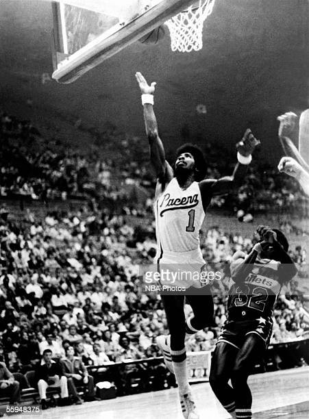 Freddie Lewis of the Indiana Pacers drives to the basket for a layup against the Baltimore Bullets during an NBA game circa in Indianapolis Indiana...