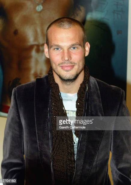 Freddie Ljungberg appears at Selfridges on Oxford Street to launch the new Calvin Klein ProStretch range November 6 2003 in Central London