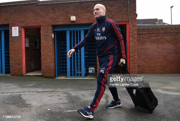 Freddie Ljungberg Assistant Coach of Arsenal arrives at the stadium prior to the Premier League match between Crystal Palace and Arsenal FC at...