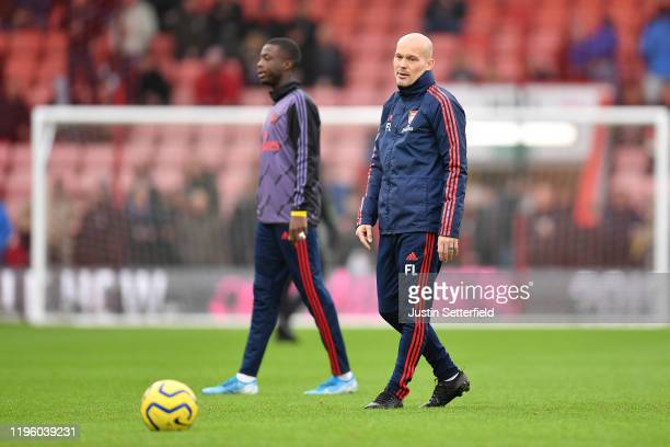 Freddie Ljungberg Assistant Coach of Arsenal looks on during their warm up ahead of the Premier League match between AFC Bournemouth and Arsenal FC...