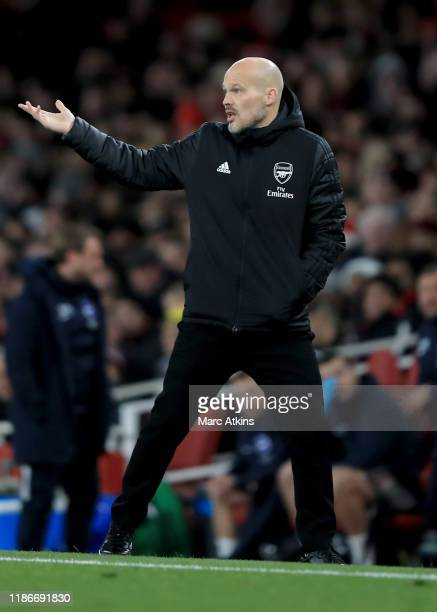 Freddie Ljungberg caretaker Arsenal coach during the Premier League match between Arsenal FC and Brighton Hove Albion at Emirates Stadium on December...