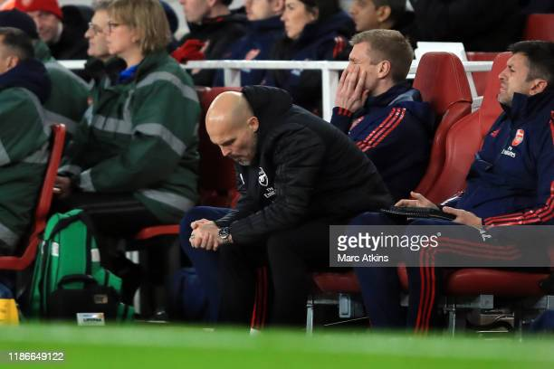 Freddie Ljungberg caretaker Arsenal coach reacts during the Premier League match between Arsenal FC and Brighton Hove Albion at Emirates Stadium on...