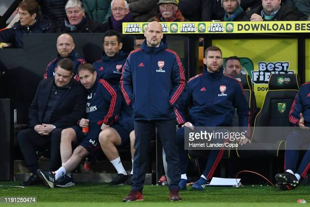 Freddie Ljungberg Caretaker Manager of Arsenal looks on during the Premier League match between Norwich City and Arsenal FC at Carrow Road on...