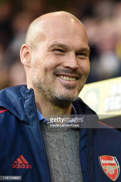 Freddie Ljungberg Caretaker Manager of Arsenal looks on prior to the Premier League match between Norwich City and Arsenal FC at Carrow Road on...