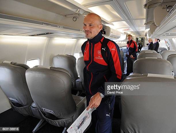 Freddie Ljungberg coach of Arsenal U19 team boards the plane at Luton Airport on September 12 2016 in Luton England