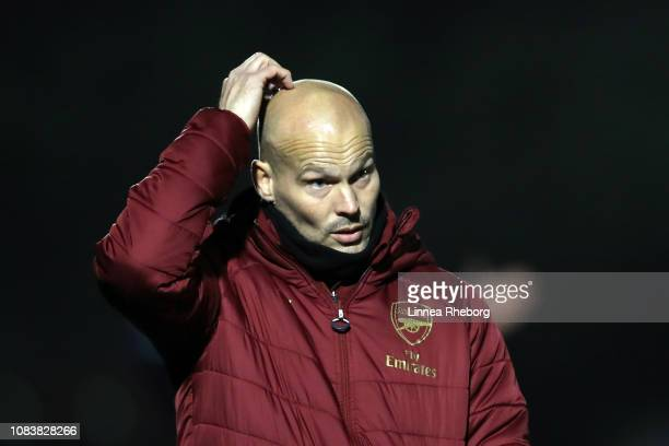 Freddie Ljungberg Head Coach of Arsenal looks on during the Premier League 2 match between Arsenal and Blackburn at Meadow Park on December 17 2018...