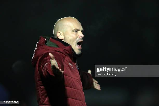 Freddie Ljungberg Head Coach of Arsenal reacts during the Premier League 2 match between Arsenal and Blackburn at Meadow Park on December 17 2018 in...