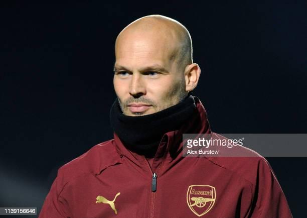 Freddie Ljungberg Head Coach of Arsenal U23 looks on prior to the Premier League 2 match between Arsenal U23 and West Ham United U23 at Meadow Park...