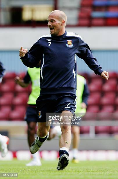Freddie Ljungberg in action during the West Ham United Open Day training session at Upton Park on July 27 2007 in London England
