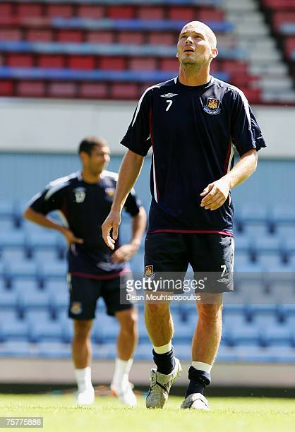 Freddie Ljungberg looks to sky after a quick sprint during the West Ham United Open Day training session at Upton Park on July 27 2007 in London...