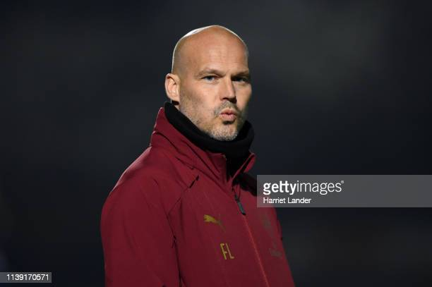 Freddie Ljungberg Manager of Arsenal reacts during the Premier League 2 match between Arsenal and West Ham United at Meadow Park on March 29 2019 in...