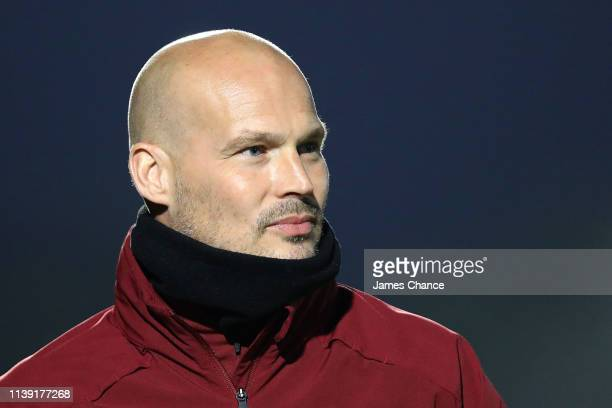 Freddie Ljungberg Manager of Arsenal U23 looks on prior to the Premier League 2 match between Arsenal and West Ham United at Meadow Park on March 29...