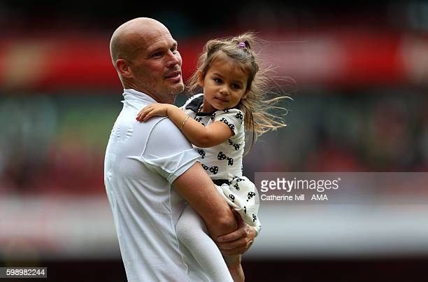 Freddie Ljungberg of Arsenal Legends with his daughter Aria Billie after the Arsenal Foundation Charity match between Arsenal Legends and Milan...