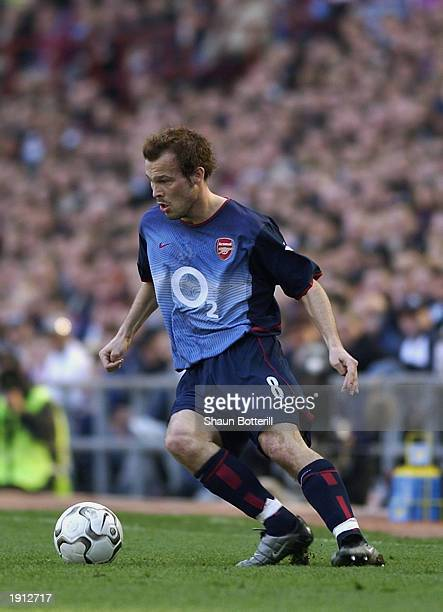 Freddie Ljungberg of Arsenal running with the ball during the FA Barclaycard Premiership match between Aston Villa and Arsenal held on April 5 2003...