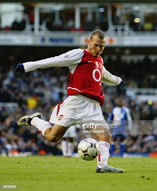 Freddie Ljungberg of Arsenal strikes the ball during the FA Barclaycard Premiership match between Arsenal and Blackburn Rovers on December 14 2003 at...
