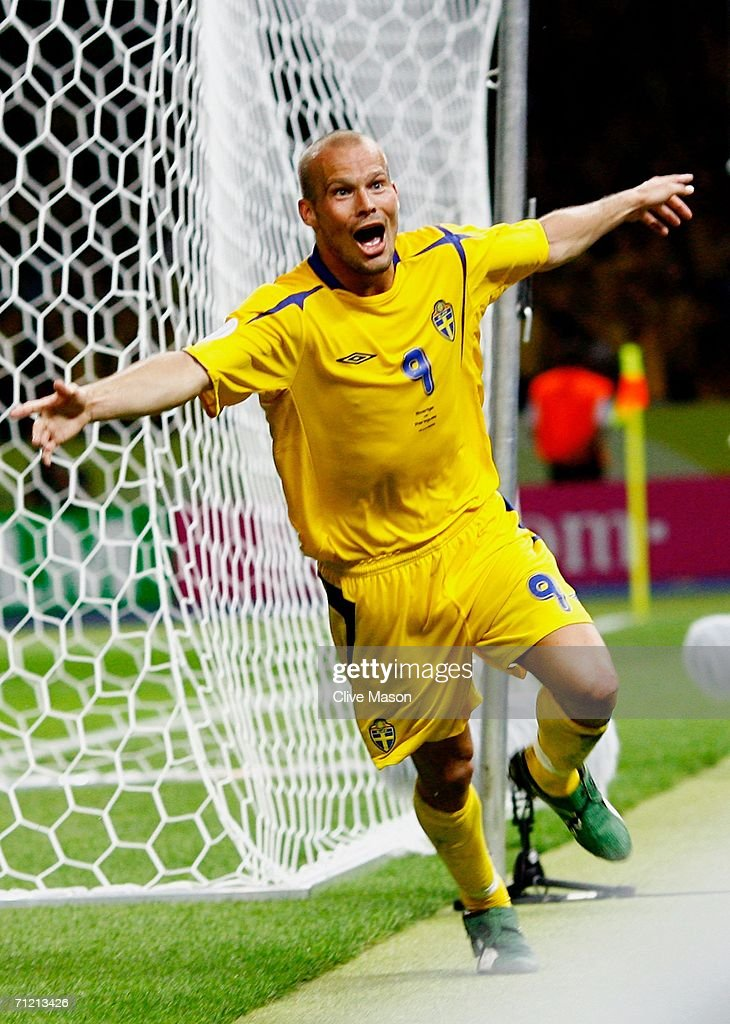 Freddie Ljungberg of Sweden celebrates scoring the winning goal during the FIFA World Cup Germany 2006 Group B match between Sweden and Paraguay played at the Olympic Stadium on June 15, 2006 in Berlin, Germany.