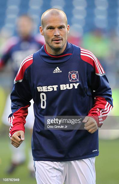 Freddie Ljungberg of the Chicago Fire warms up prior to the game against the Seattle Sounders FC on August 28 2010 at Qwest Field in Seattle...