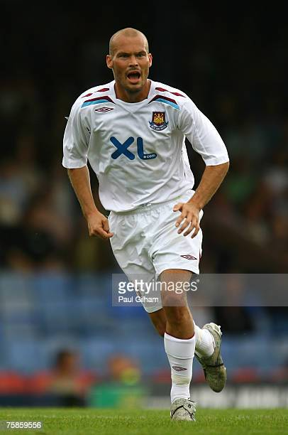 Freddie Ljungberg of West Ham United in action during a pre season friendly match between Southend United and West Ham United at Roots Hall Stadium...