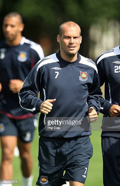 Freddie Ljungberg of West Ham United warms up during West Ham United training at Chadwell Heath on August 9 2007 in London