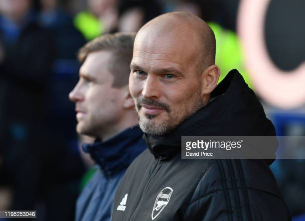 Freddie Ljungberg the Arsenal Interim Head Coach before the Premier League match between Everton FC and Arsenal FC at Goodison Park on December 21...