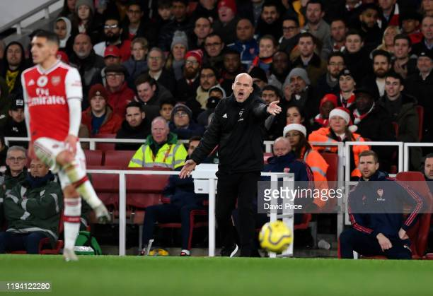 Freddie Ljungberg the Arsenal Interim Head Coach during the Premier League match between Arsenal FC and Manchester City at Emirates Stadium on...