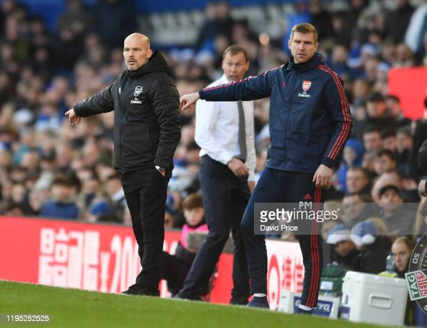 Freddie Ljungberg the arsenal Interim Head Coach with his Interim Assistant Per Mertesacker during the Premier League match between Everton FC and...