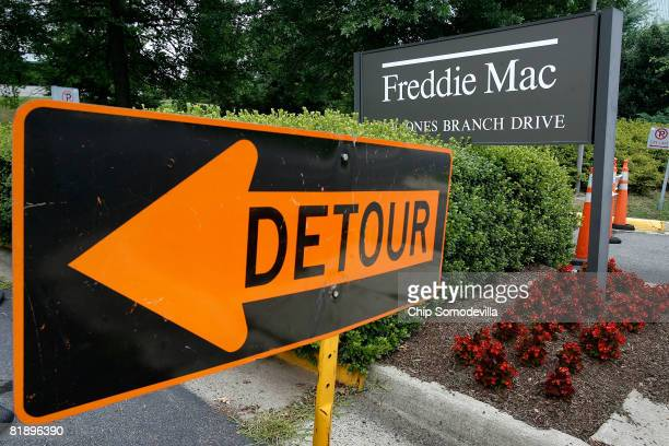 Freddie Mac sign sits in front of its headquarters July 10 2008 in McClean Virginia Shares in Fannie Mae and Freddie Mac have dropped to their lowest...