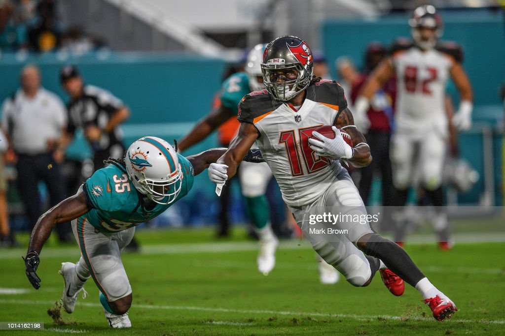 Freddie Martino #16 of the Tampa Bay Buccaneers makes the catch in the second quarter during a preseason game against theMiami Dolphins at Hard Rock Stadium on August 9, 2018 in Miami, Florida.